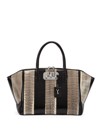 Brera Snakeskin Medium Satchel Bag, Black