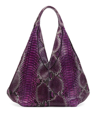 Napsack Python Hobo Bag, Purple