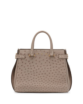 Boulevard Ostrich Medium Tote Bag, Light Brown