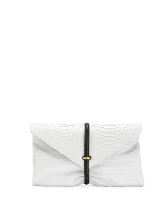 Python & Lizard Envelope Clutch Bag, Black/White