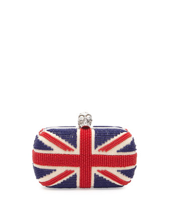 Britannia Beaded Skull-Clasp Clutch Bag
