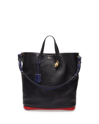 Skull Padlock Colorblock North-South Tote Bag, Black