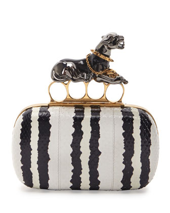 Snakeskin Panther Knuckle-Duster Clutch Bag, Black/White