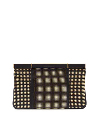 Studded Hexagon Frame Clutch Bag, Black