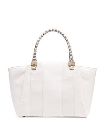 Trilogy Snake-Print Leather Tote Bag, White