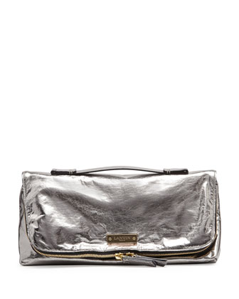 Large Metallic Fold-Over Clutch Bag, Silver