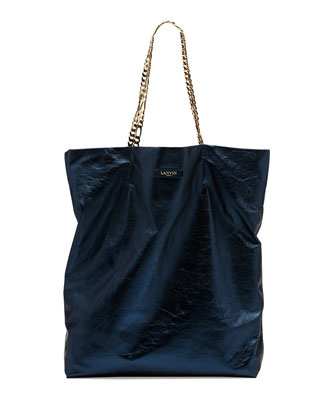Large Chain-Strap Metallic Tote Bag, Blue