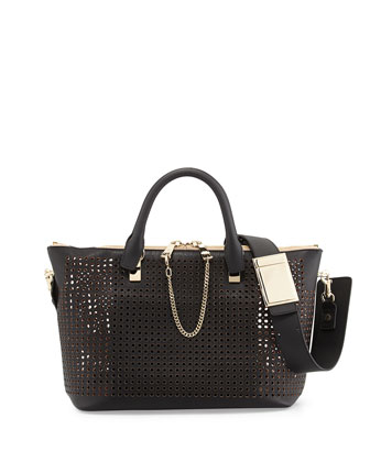 Baylee Perforated Medium Shoulder Bag, Black