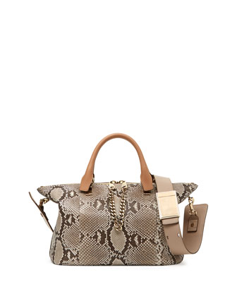Baylee Python Medium Shoulder Bag, Beige