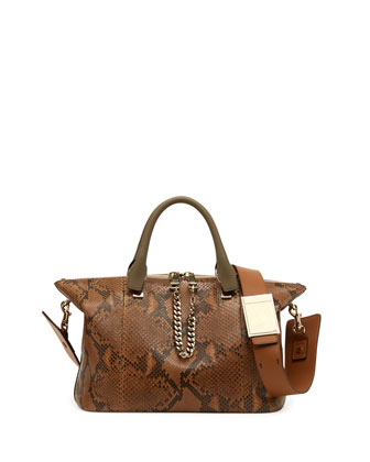 Baylee Python Medium Shoulder Bag, Brown