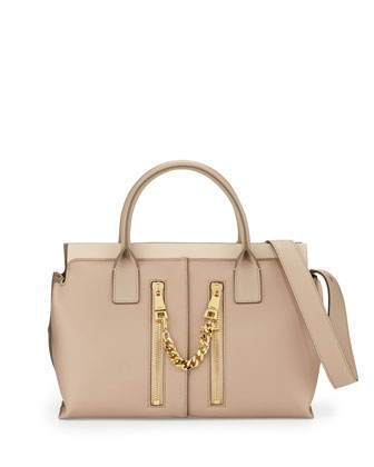 Cate Medium Double-Zip Satchel Bag, Beige