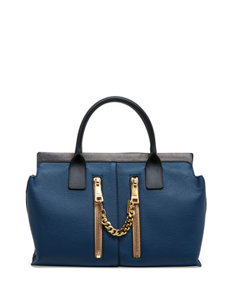 Cate Medium Double Zip Satchel Bag, Blue