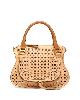 Marcie Perforated Medium Shoulder Bag, Brown