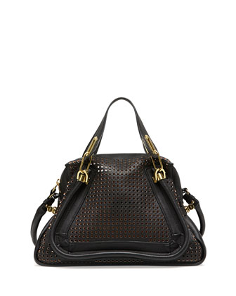 Paraty Perforated Medium Shoulder Bag, Black