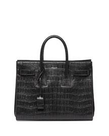 Sac de Jour Croc-Print Small Carryall Bag, Black