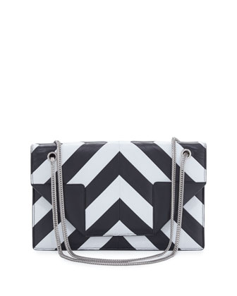 Betty Patchwork Medium Shoulder Bag, Black/White