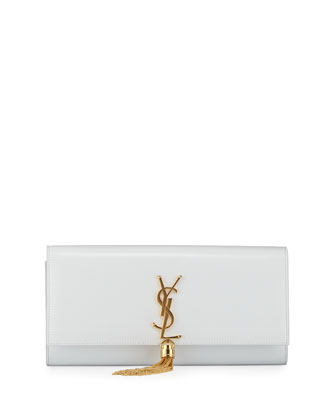 Cassandre Tassel Clutch Bag, White