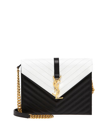 Monogramme Bicolor Envelope Bag, Black/White