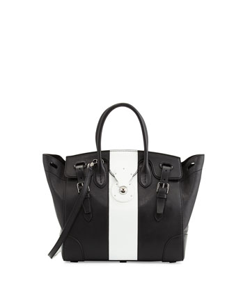 Soft Ricky 33 Medium Bicolor Satchel Bag, Black/White
