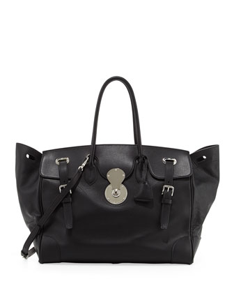 Ricky 40 Large Calfskin Satchel Bag , Blac
