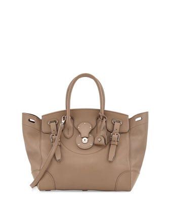 Soft Ricky 33 Medium Soft Calfskin Satchel Bag , Taupe