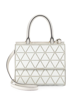 Mini Triangle Soft Leather Tote Bag, White