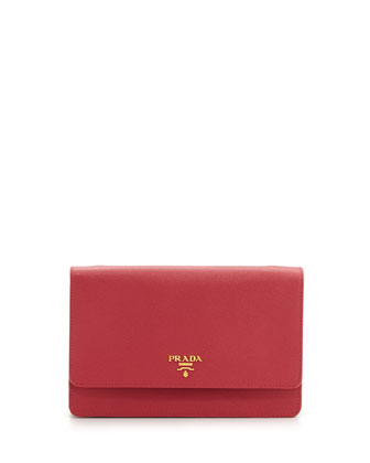 Saffiano Wallet Crossbody Bag, Pink (Rosa)