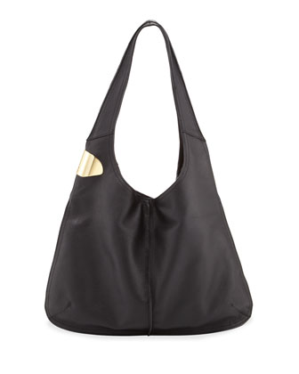Leather Sack Hobo Bag, Black