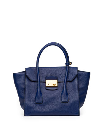 Daino Small Twin-Pocket Flap Bag, Dark Blue (Inchiostro)