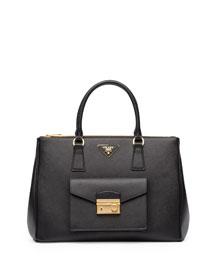Saffiano Front-Pocket Tote Bag, Black (Nero)