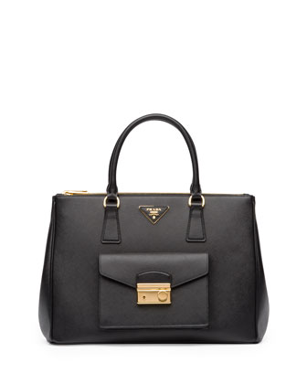 Saffiano Front-Pocket Tote Bag, Black (Nero)