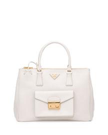 Saffiano Front-Pocket Tote Bag, White (Talco)