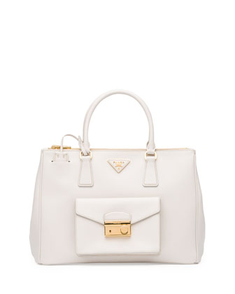 Saffiano Front-Pocket Tote Bag, White (Talco)