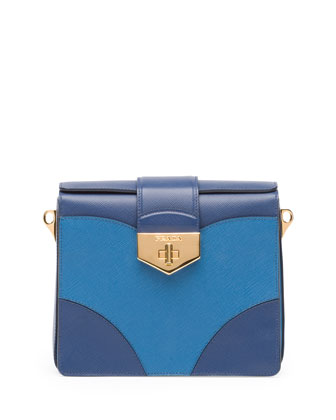 Bicolor Saffiano Turn-Lock Satchel Bag, Multi Blue (Bluette+Cobalto)