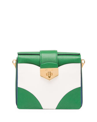 Bicolor Saffiano Turn-Lock Satchel Bag, Green/White/Blue (Verde+Bianco+Cobalto)