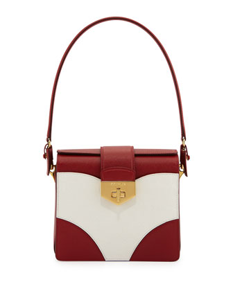 Tricolor Saffiano Turn-Lock Satchel Bag, Red/White (Fuoco+Bianco)