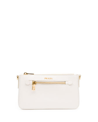 Saffiano Small Zip Crossbody Bag, White (Bianco)
