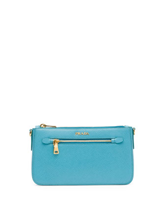 Saffiano Small Zip Crossbody Bag, Turquoise (Turchese)