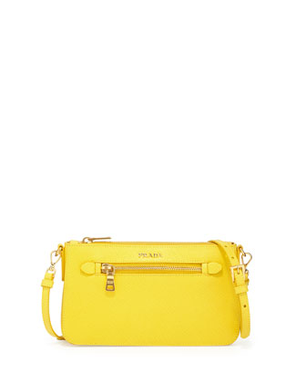 Saffiano Small Zip Pockets Crossbody Bag, Yellow (Girasole)