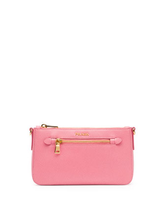 Saffiano Small Zip Crossbody Bag, Fuchsia (Geranio)