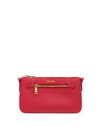 Saffiano Small Zip Crossbody Bag, Red (Fuoco)