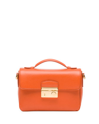 Saffiano Small Sound Crossbody Bag, Orange (Papaya)