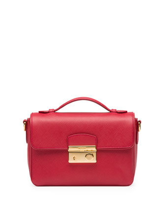 Saffiano Small Sound Crossbody Bag, Red (Fuoco)