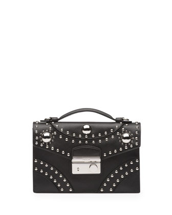 Studded Saffiano Sound Bag, Black (Nero)