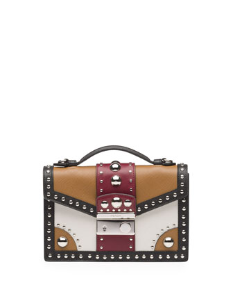 Tricolor Studded Saffiano Sound Bag, Brown/Red (Caramel+Cerise)