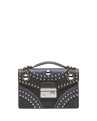 Bicolor Studded Saffiano Sound Bag, Black/Blue (Nero+Baltico)