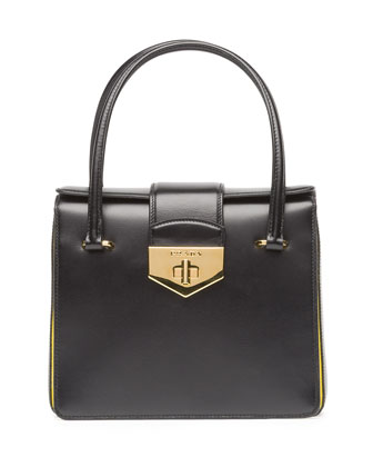 Box Calf Bicolor Satchel Bag, Black/Yellow (Nero+Girasole)