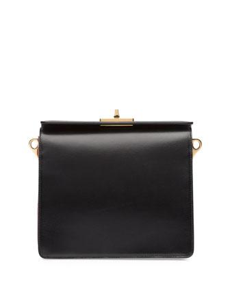 Box Calf Bicolor Shoulder Bag, Black/Pink (Nero+Begonia)