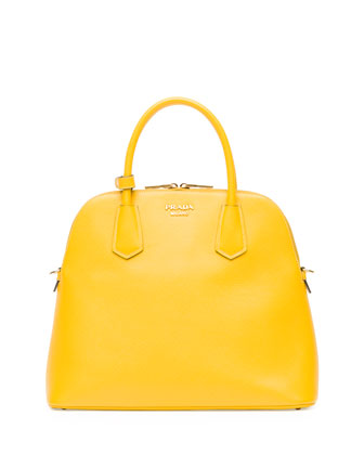 Saffiano Cuir Dome Satchel Bag, Yellow (Giallo)