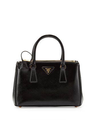 Mini Vernice Saffiano Double-Zip Tote Bag, Black (Nero)